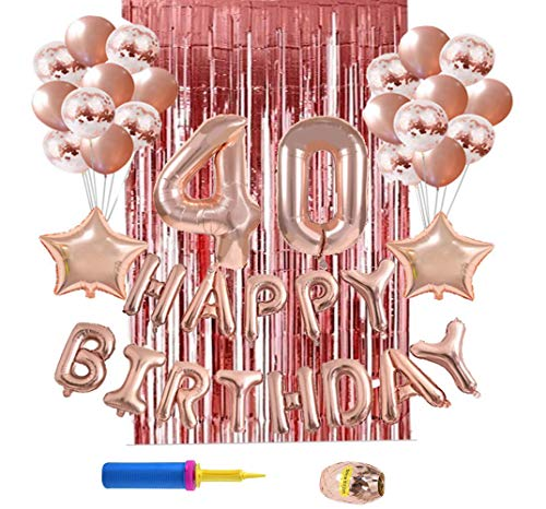 Dailygo 40th Birthday Decoration Rose Gold Happy Birthday Balloon Banner Party Decorations Number 21 Foil Balloons,Birthday Banner,Confetti & Latex Balloons Party Supplies (Style2-40th Birthday) (Happy Birthday 40th Foil)