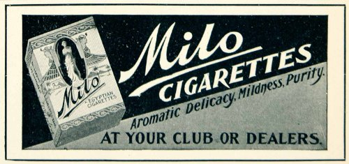 1902 Ad Milo Egyptian Cigarettes Tobacco Smoking Edwardian Era Vintage Sculpture - Original Print (Egyptian Cigarettes)