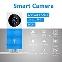 FancyTech New Clever Dog Smart Camera with 960P HD 120° Wide Angel Lens Support TF Card (Up to 128G) Mini Security Wireless Baby Monitor Surveillance Camera (Blue)