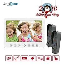 Jeatone 1200TVL 7 White Color HD Video Doorphone Intercom Systems Camera Doorbell 1 Monitor and 2 Cameras
