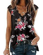 WXDSNH Vrouwen V-hals Kant Vest T-shirt Losse Casual Gedrukt Slit Top Tee Borduurwerk Vrouwen Mode Tops