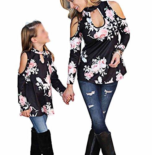 leveltech Mommy & Me Floral Cold Off Shoulder Choker Long Sleeve Top Tshirt (Mon-black, Mon-L)