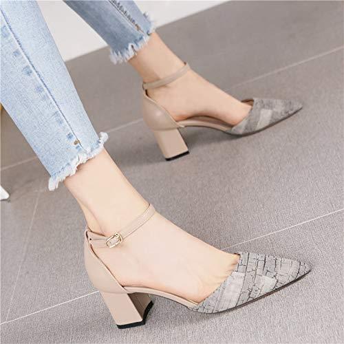 Yukun zapatos de tacón alto Moda Pequeña Fresca Acentuado Grueso con Tacones Altos Hembra Boca Superficial Bajo Palabra con Un Solo Calzado Gray