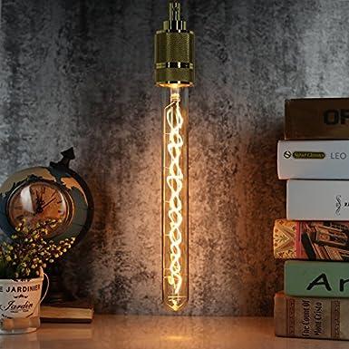 Ampoule Edison LED T32T10 4 W Intensité variable Long tube à essai Transparent 220240 V Culot à vis E27 (Ambre)