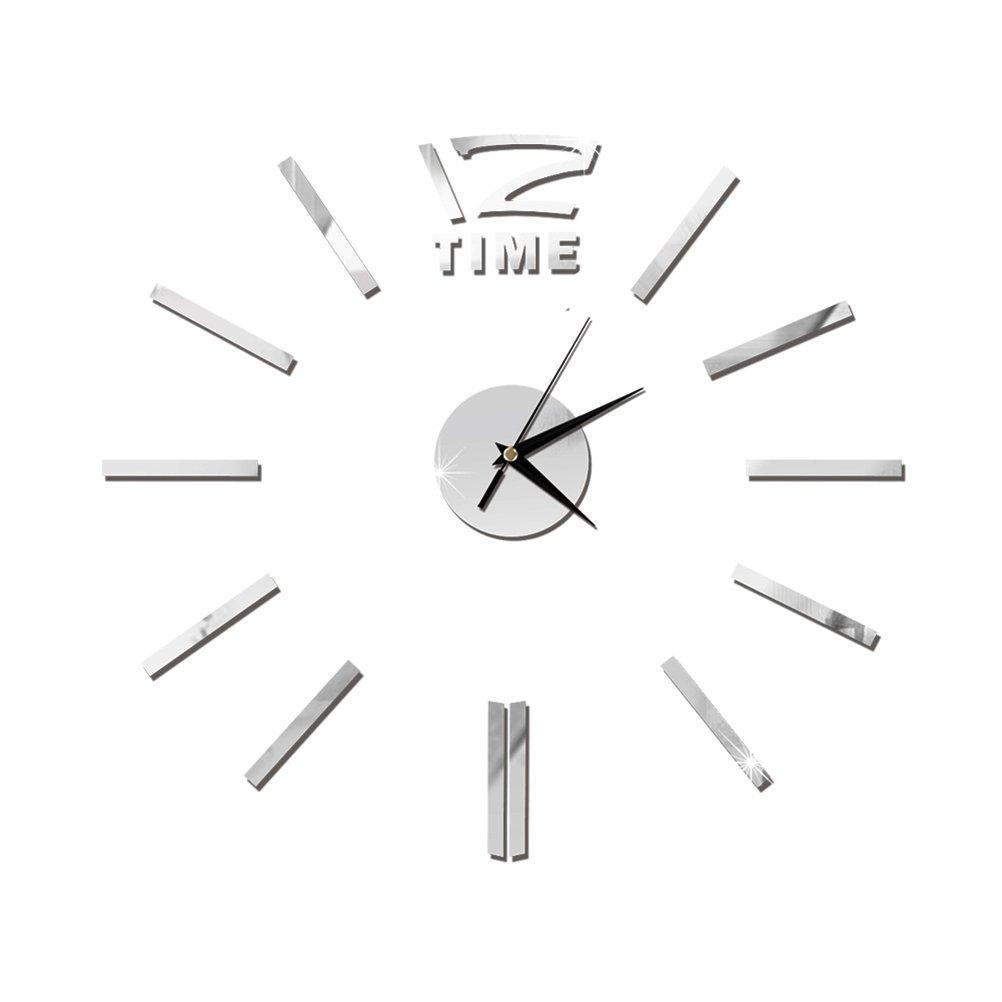 Orologio da Parete Moderno Adesivo VORCOOL Orologio da Muro Grande Argento 50cm