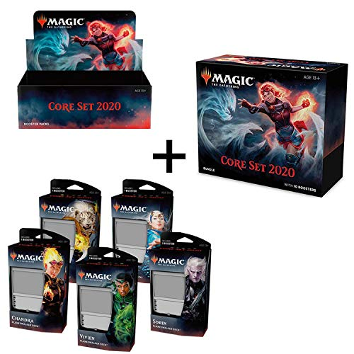 MTG Magic the Gathering 2020 Core Set M20 Booster Box + Bundle + All 5 Planeswalker Decks!