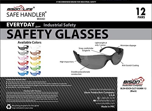 SAFE HANDLER Full Color Safety Glasses | One Size, Adult, Youth, Full Color Polycarbonate Lens and Temple, BLACK, Box of 12 (Case of 12 Boxes, 144 Pairs Total) by Safe Handler (Image #8)