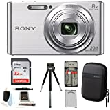 Sony DSCW830/B w/Standard Medium Digital Camera Case & 32GB Battery Bundle