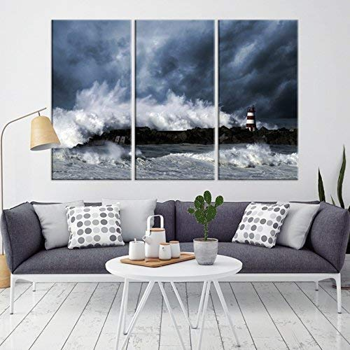 3 Panel Storm and Lighthouse Landscape Wall Art Canvas Print - Framed - Ready to Hang Storm at Ocean Art Canvas Print