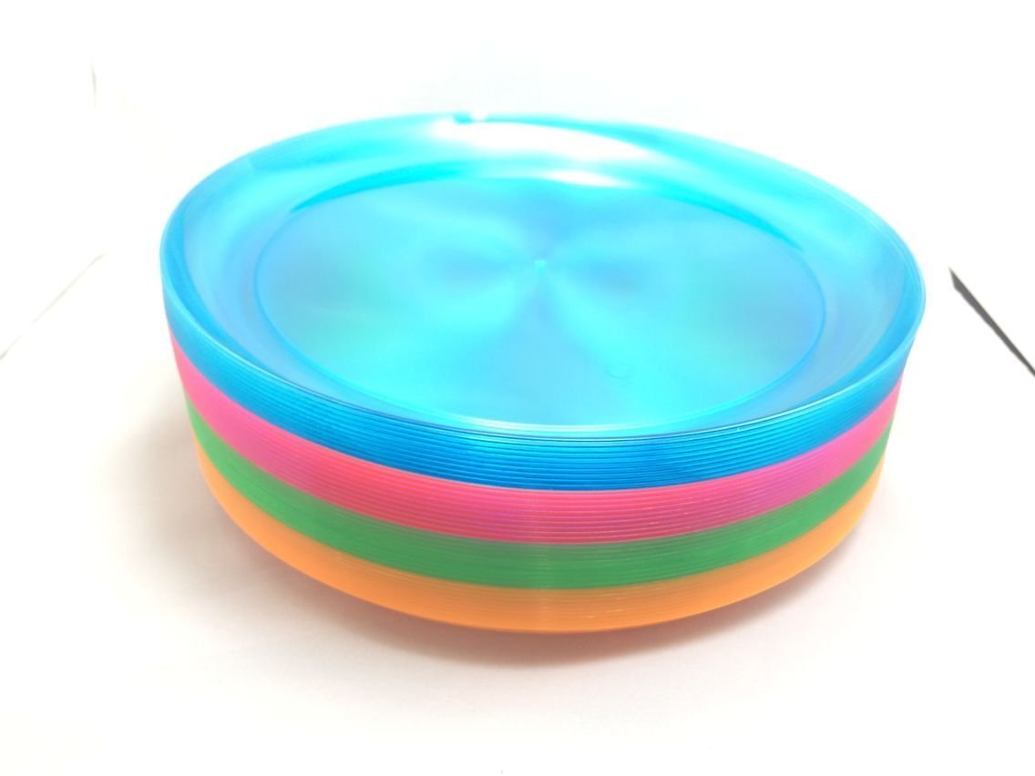 EDI Hard Plastic 9-Inch Round Party/Luncheon Plates, Assorted Neon, 40-Count (Case of 240)