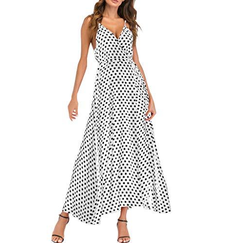 Driuankeji Fashion Sexy Dress for Women Sleeveless Halter Ladies V-Neck Beach Polka Dot Bandage Maxi Dress White
