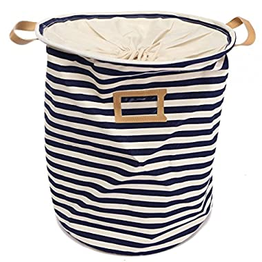 KINGSO Fabric Foldable Round Laundry Basket Hamper Closet Storage Bin Bag 35*45cm Blue Stripe