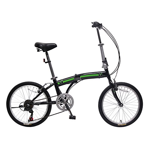 IDS Home Unyousual U Arc Folding City Bike Bicycle 6 Speed Steel Frame Shimano Gear Wanda Tire, Black