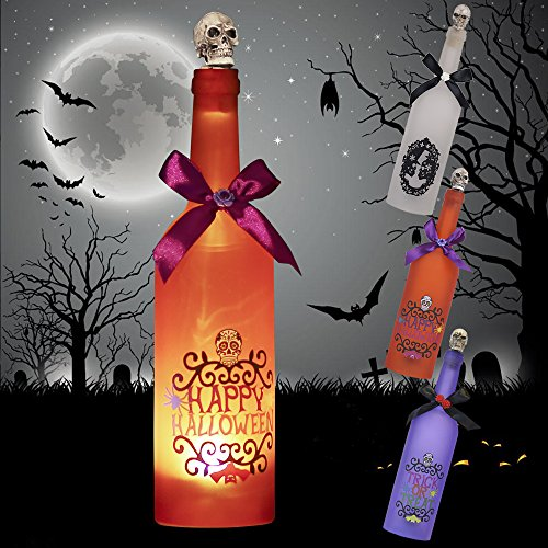 Valery Madelyn Happy Halloween Decoration Bottle with Lights and Scary Sound, Orange Glass Wine Bottle with Spooky Skull Cork, Battery Operated and Touch Activated (Wine Bottles Halloween Decorations)