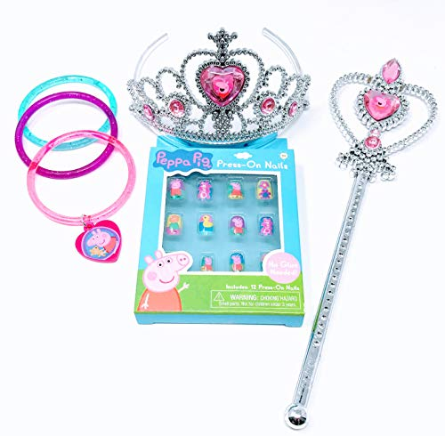 (Peppa Pig Girls Toy Princess Tiara and Wand Set with Glitter Bracelets and Press on Nails)