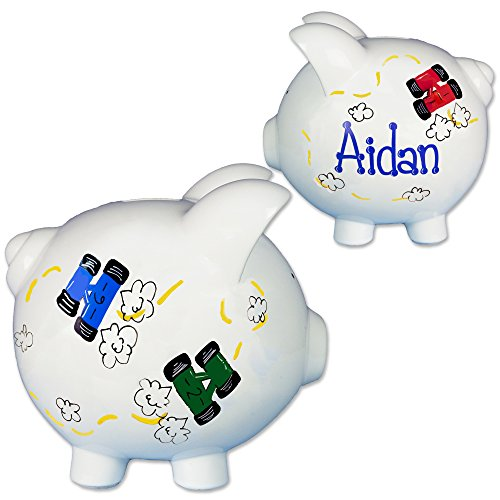 Boy's Hand Painted Personalized Race Car Piggy Bank for nascar Baby Gift with racecars