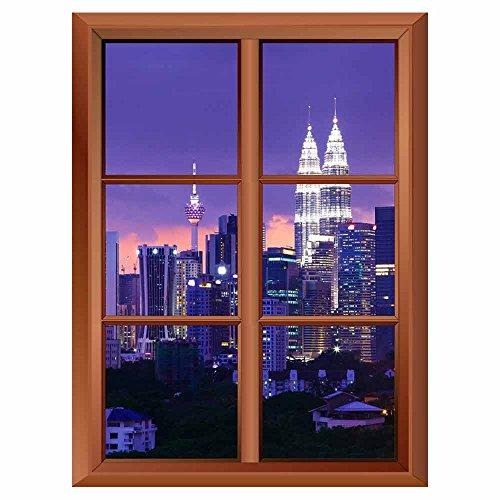 Removable Wall Sticker Wall Mural Kuala Lumpur Skyline at Night Creative Window View Vinyl Sticker