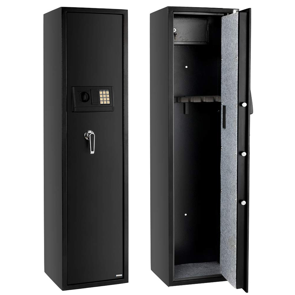 Rifle Gun Safe Large Firearms Shotgun Safe Cabinet Electronic 5 Gun Security Cabinet with Small Lock Box for Handguns Ammo┃Codes Memory Function┃Upgraded Honeycomb Box Packaging