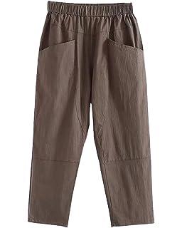Femme Casual Slim Crayon Pantalons Taille Haute Décontracté avec Pantalon  Cordon Droit Straight Loose Pant 0eb1d73c7da0