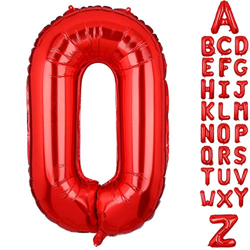 - 40 Inch Large Letter O Foil Balloons Red Alphabet Mylar Balloon for Birthday Party Decoration Wedding Decor Girls