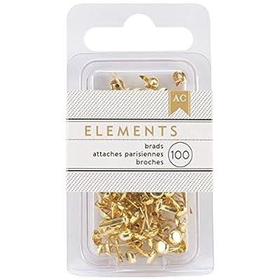 American Crafts Elements 0.125-Inch Brads, Mini, Gold, 100-Pack