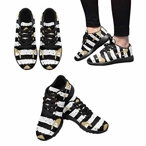 InterestPrint Womens Jogging Running Sneaker Lightweight Go Easy Walking Comfort Sports Athletic Shoes Glitter Golden Anchors On Striped Background 0UBPTjy