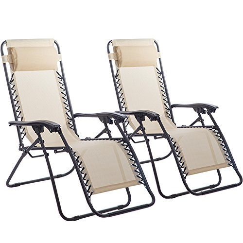 Set of 2 Zero Gravity Chairs Lounge Patio Chairs Outdoor Yard Beach (Tan)