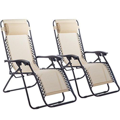 Set of 2 Zero Gravity Chairs Lounge Patio Chairs Outdoor Yard Beach (Patio Outdoor Beach Chair)