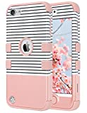 ULAK Case for iPod Touch 6/5th Generation, Anti Slip Anti-Scratch iPod Touch Case Shockproof Protective Cover with Hybrid High Soft Silicone + Hard PC Case(Minimal Stripes Rose Gold)