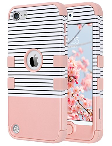 ULAK iPod Touch 7 Case, iPod Touch 6 Case, Heavy Duty Shockproof Protective Cover with Dual Layer Hard PC+ Soft Silicone for Apple iPod Touch 7th/6th/5th Generation (Minimal Stripes Rose Gold)