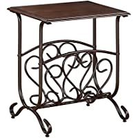 American Furniture Classics Glenwood Chair side Table with Magazine Storage Area, Espresso