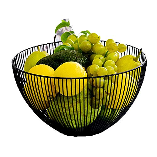 Unique Large Metal Fresh Fruit Container Basket Simple Art Iron Wire Organizer Vegetable Rack Storage Tray Holder Table Snack Bowl Artificial Display Cool Gift Round Tiered Shelfl Strainer (Black)