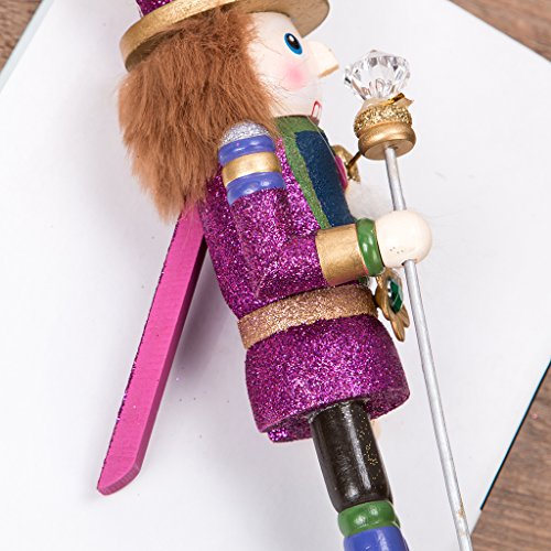MagiDeal Vintage 30cm Wood Glittery Nutcracker Soldier Figures Figurine Home Desktop Ornaments Children Xmas Birthday Gift Rosy by MagiDeal (Image #3)