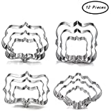 Plaque Frame Cookie Cutter Set - 12 Piece - Square,Oval,Rectangle,Photo Plaques Frame Fondant Cutters -Stainless Steel(Assorted Sizes)