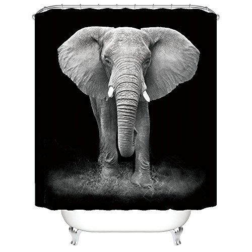 Gwein Elephant Art Black and White Photography Shower Curtain Polyester Fabric Mildew Proof Waterproof Cloth Shower Room Decor Shower Curtains(66Wx72L)