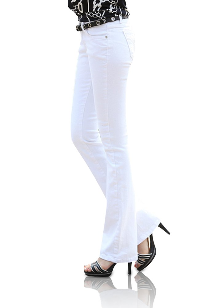 Smibra Womens Casual Slimming Mid Waist Flat Front Bootcut Denim Jeans Ankle Length