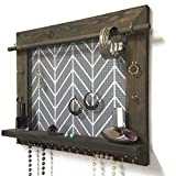 Firwood Forest Wall Hanging Jewelry Organizer With Shelf For Necklaces Earrings Bracelets