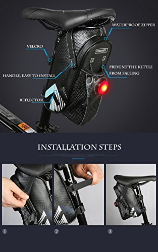 Abonnylv Bike Seat Pack With Rear Light ,Cycling Saddle Bag