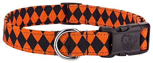 Country Brook Design Deluxe Halloween Checkerboard Designer Dog Collar - Large
