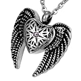 hsn_zem Angel Heart &Wings Cremation Jewelry Ashes Keepsake Memorial Urn Necklace Beauty