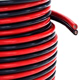 GS Power's True 12 Gauge (American Wire Ga) 100 feet 99.9% OFC stranded oxygen free copper, Red / Black 2 Conductor Bonded Zip Cord Power / Speaker Cable for Car Audio Amplifier, Home Theater, Robotic
