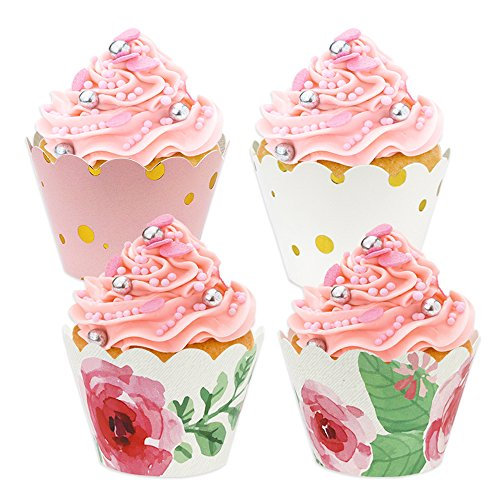 BAKHUK 48 Pack Floral Cupcake Wrappers, Pink and Gold Party Supplies for Wedding Birthday Baby Shower Party Supplies - Assembled Cupcake
