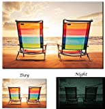 Picture Sensations Glow in The Dark Canvas Wall Art, Beach Chairs at Sunset