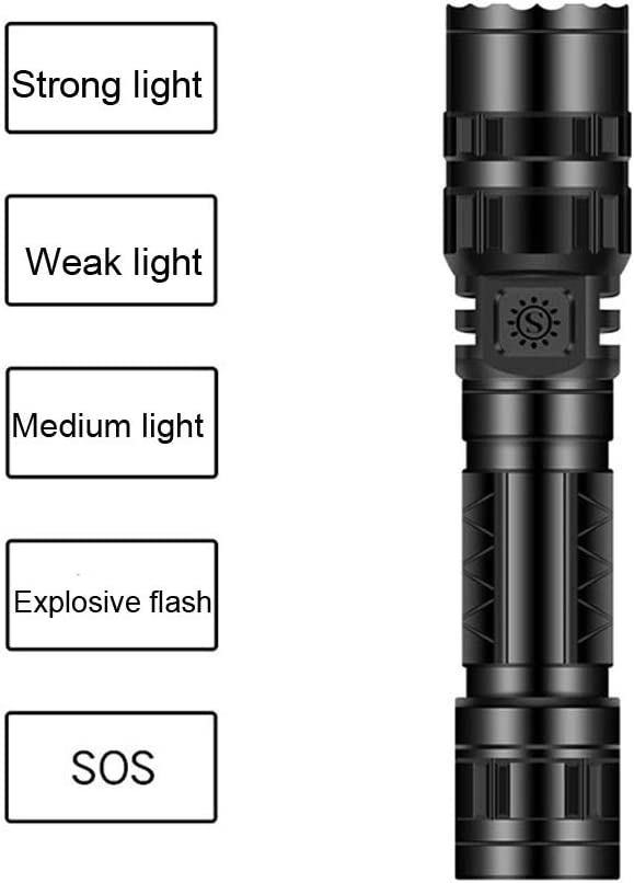 QOSOD LED Flashlight 2000 Lumen XML-T6 Tactical Flashlight Portable,Waterproof Flashlights Emergency Perfect for Camping