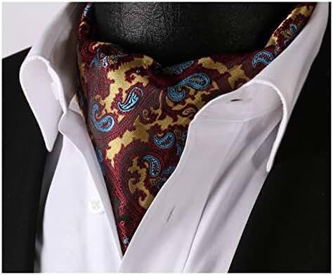 SetSense Men's Floral Paisley Jacquard Woven Self Cravat Tie Ascot