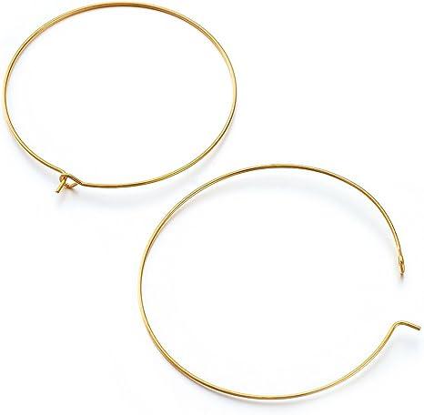 20pcs Jewellery Findings Golden Brass Earring Hoops Wine Glass Charm Rings 45mm