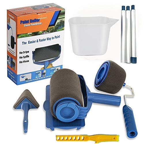 9PCS Paint Runner Pro Roller Brush Handle Tool Flocked Edger Office Room Wall Painting Home Garden Tool Roller Paint Brush Set Transform Your Home in -