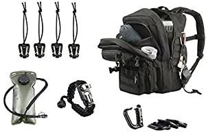Tactical Backpack 3-Day Assault Pack w/2L Hydration Bladder & Para Cord Survival Bracelet - 45 Liter Military Rucksack (Spec Ops Black) w/Molle Load Bearing Web Dominators & D-Rings