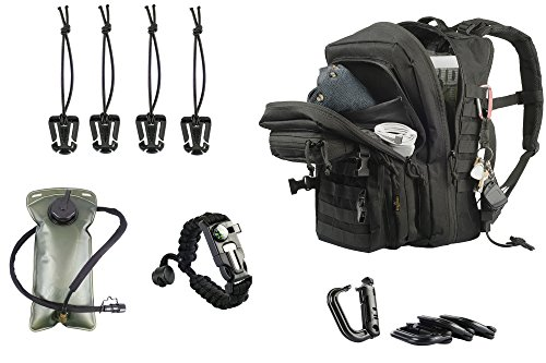 Tactical Backpack with Hydration Bladder – Tactical Backpack Accessories Included –