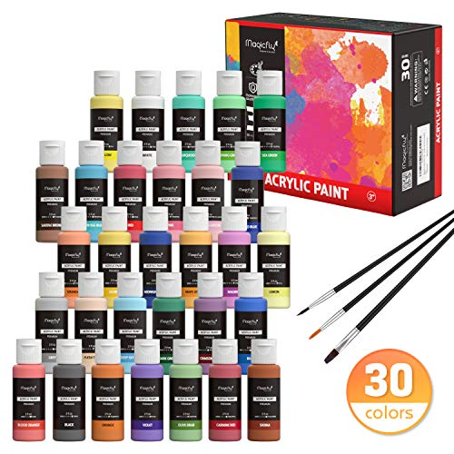 Magicfly 30 Colors Acrylic Paint Set (2fl oz/60ml Each), Artist Quality Non-Toxic Craft Paints with 3 Brushes, for Multi-Surface Paint on Canvas, Paper, Wood, Stone, Ceramic and Model
